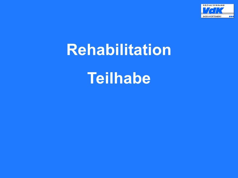 Die Praxis der Rehabilitation und die erforderlichen Leistungen sollen die Selbstbestimmung und gleichberechtigte Teilhabe behinderter und von Behinderung bedrohter Menschen am Leben in der Gesellschaft fördern, Benachteiligungen vermeiden und ihnen entgegenwirken.