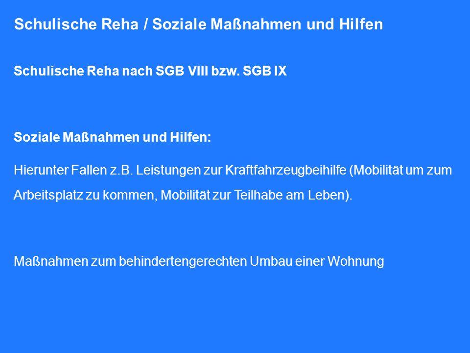 Schulische Reha / Soziale Maßnahmen und Hilfen Schulische Reha nach SGB VIII bzw. SGB IX Soziale Maßnahmen und Hilfen: Hierunter Fallen z.B. Leistunge