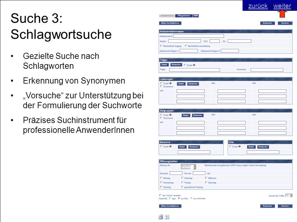 © SNC Social Networks Consulting GmbH [zurück] [weiter]zurückweiter Suche 3: Schlagwortsuche Gezielte Suche nach Schlagworten Erkennung von Synonymen Vorsuche zur Unterstützung bei der Formulierung der Suchworte Präzises Suchinstrument für professionelle AnwenderInnen [zurück] [weiter]zurückweiter