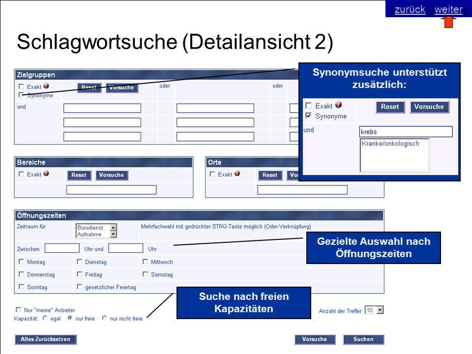 © SNC Social Networks Consulting GmbH [zurück] [weiter]zurückweiter Schlagwortsuche (Detailansicht 2) Suche nach freien Kapazitäten Synonymsuche unter