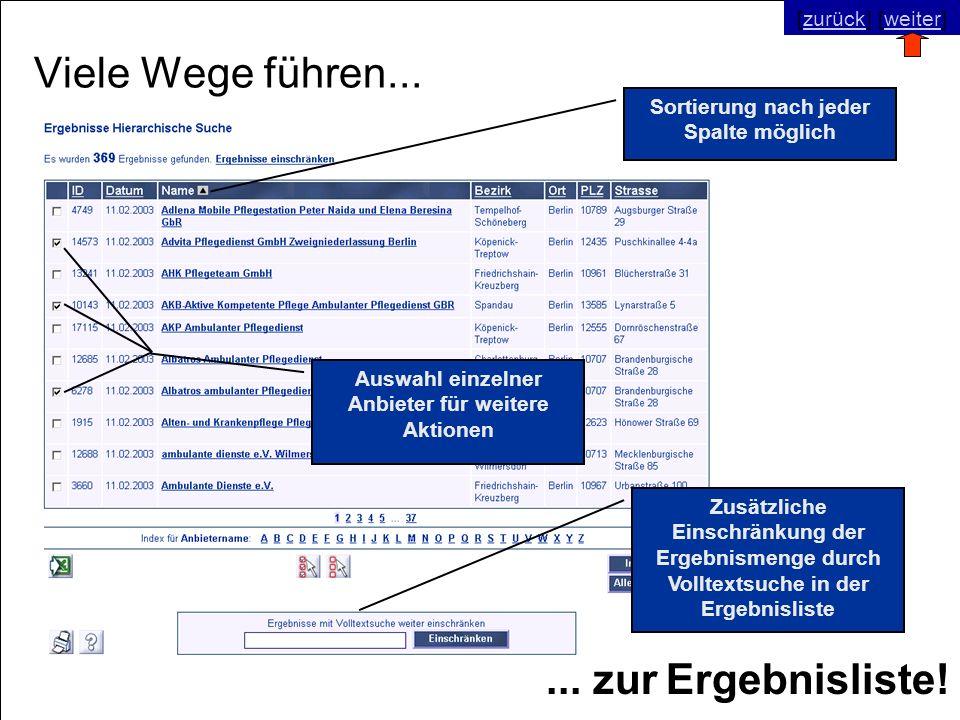 © SNC Social Networks Consulting GmbH [zurück] [weiter]zurückweiter Viele Wege führen...... zur Ergebnisliste! Sortierung nach jeder Spalte möglich Au