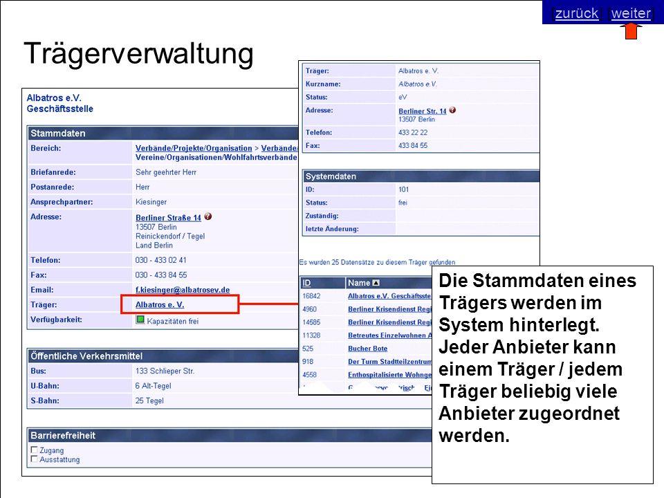 © SNC Social Networks Consulting GmbH [zurück] [weiter]zurückweiter Trägerverwaltung Die Stammdaten eines Trägers werden im System hinterlegt.