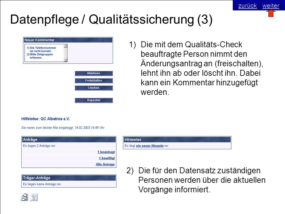 © SNC Social Networks Consulting GmbH [zurück] [weiter]zurückweiter Datenpflege / Qualitätssicherung (3) 2)Die für den Datensatz zuständigen Personen werden über die aktuellen Vorgänge informiert.