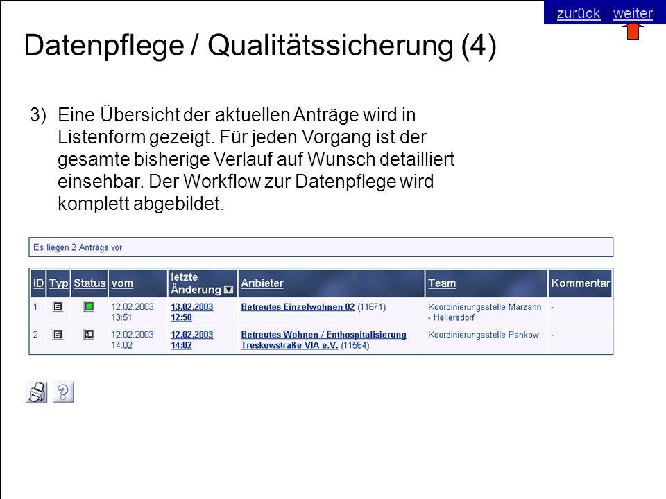 © SNC Social Networks Consulting GmbH [zurück] [weiter]zurückweiter Datenpflege / Qualitätssicherung (4) 3)Eine Übersicht der aktuellen Anträge wird i