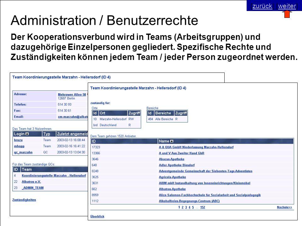 © SNC Social Networks Consulting GmbH [zurück] [weiter]zurückweiter Administration / Benutzerrechte Der Kooperationsverbund wird in Teams (Arbeitsgruppen) und dazugehörige Einzelpersonen gegliedert.