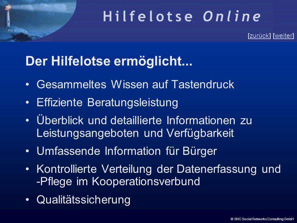 © SNC Social Networks Consulting GmbH [zurück] [weiter]zurückweiter Der Hilfelotse ermöglicht... Gesammeltes Wissen auf Tastendruck Effiziente Beratun