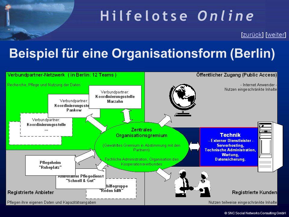 © SNC Social Networks Consulting GmbH [zurück] [weiter]zurückweiter Beispiel für eine Organisationsform (Berlin)