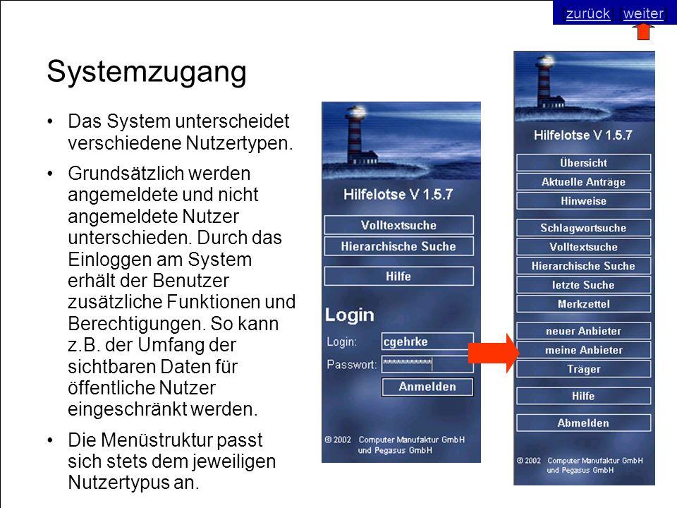 © SNC Social Networks Consulting GmbH [zurück] [weiter]zurückweiter Systemzugang Das System unterscheidet verschiedene Nutzertypen. Grundsätzlich werd