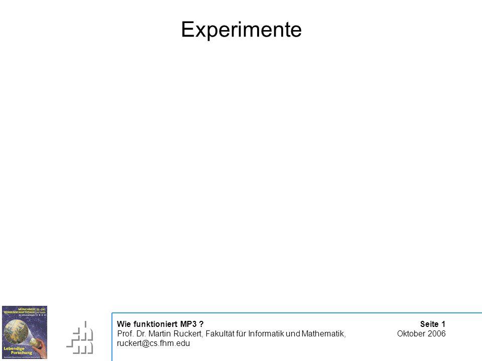 Seite 1 Oktober 2006 Wie funktioniert MP3 . Prof.