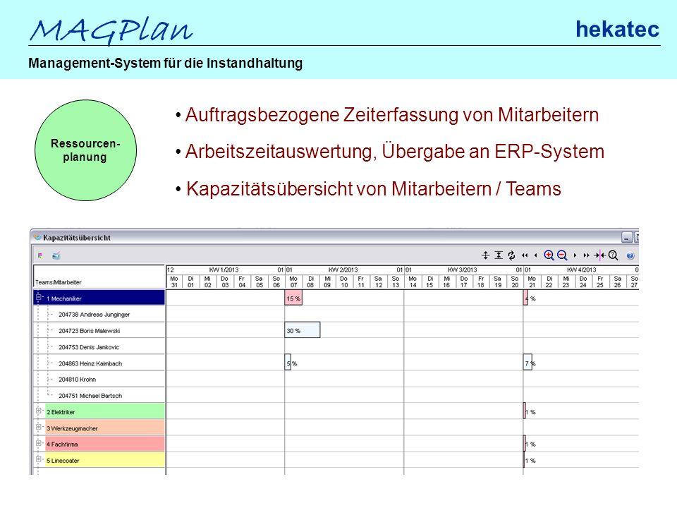MAGPlan hekatec Management-System für die Instandhaltung Ressourcen- planung Auftragsbezogene Zeiterfassung von Mitarbeitern Arbeitszeitauswertung, Üb