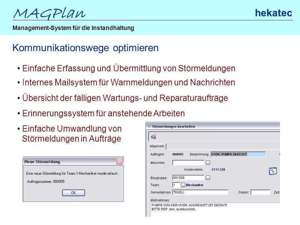 MAGPlan hekatec Management-System für die Instandhaltung Kommunikationswege optimieren Einfache Erfassung und Übermittlung von Störmeldungen Internes