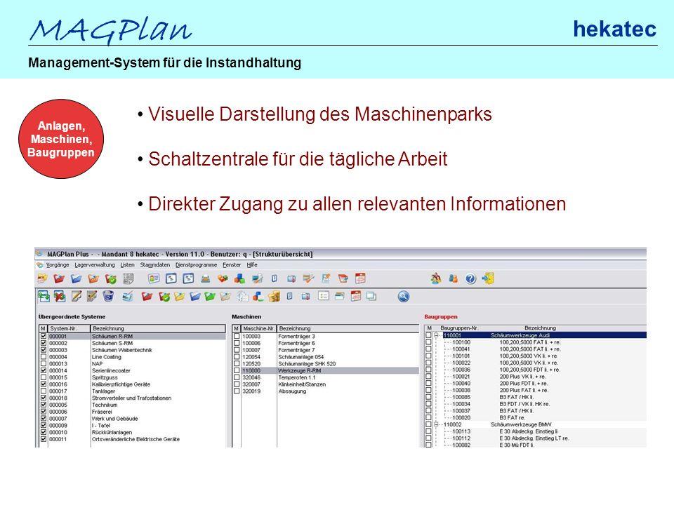 MAGPlan hekatec Management-System für die Instandhaltung Anlagen, Maschinen, Baugruppen Visuelle Darstellung des Maschinenparks Schaltzentrale für die
