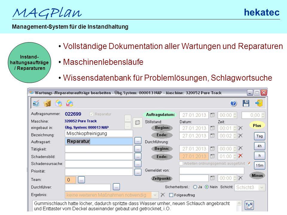 MAGPlan hekatec Management-System für die Instandhaltung Instand- haltungsaufträge / Reparaturen Vollständige Dokumentation aller Wartungen und Repara