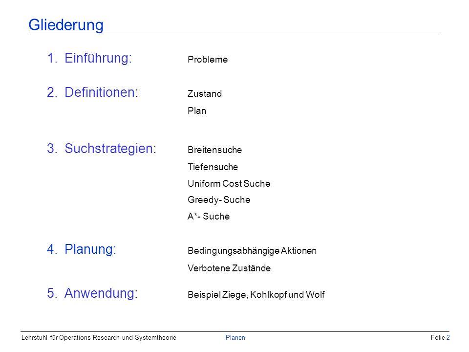 Lehrstuhl für Operations Research und SystemtheoriePlanenFolie 3 Gliederung 1.