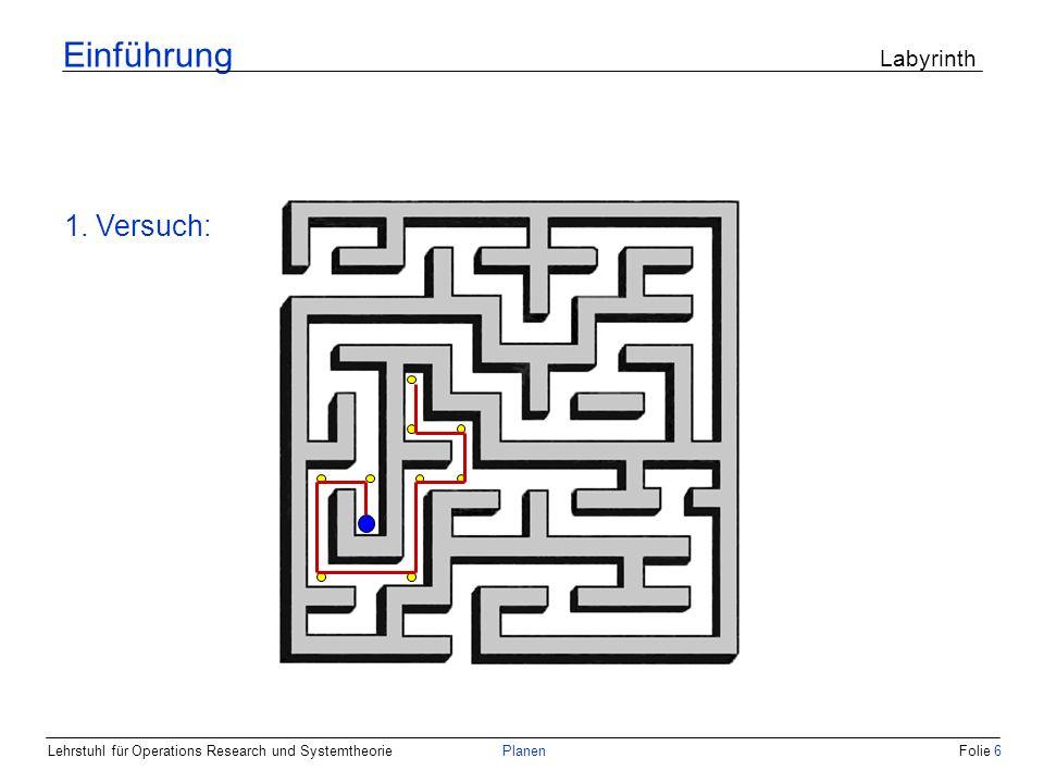 Lehrstuhl für Operations Research und SystemtheoriePlanenFolie 7 Einführung Labyrinth 2. Versuch: