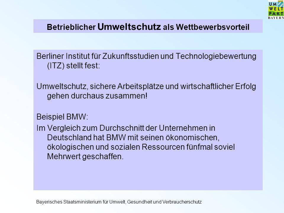 Betrieblicher Umweltschutz als Wettbewerbsvorteil Berliner Institut für Zukunftsstudien und Technologiebewertung (ITZ) stellt fest: Umweltschutz, sich
