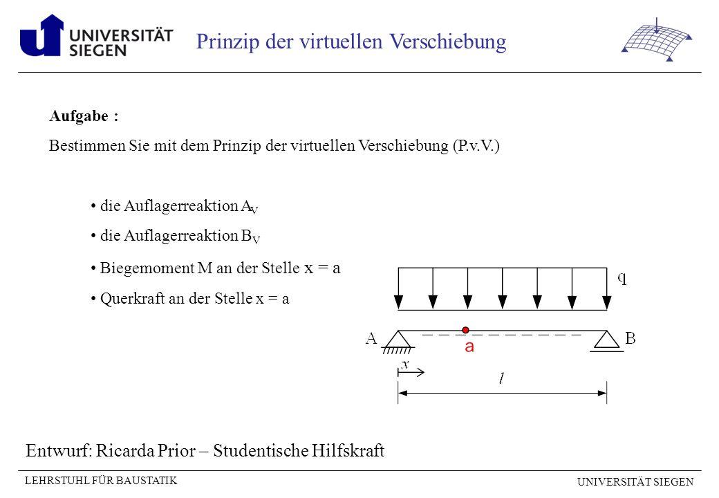 UNIVERSITÄT SIEGEN LEHRSTUHL FÜR BAUSTATIK Prinzip der virtuellen Verschiebung Aufgabe : Bestimmen Sie mit dem Prinzip der virtuellen Verschiebung (P.v.V.) die Auflagerreaktion A V die Auflagerreaktion B V Biegemoment M an der Stelle x = a Querkraft an der Stelle x = a Entwurf: Ricarda Prior – Studentische Hilfskraft
