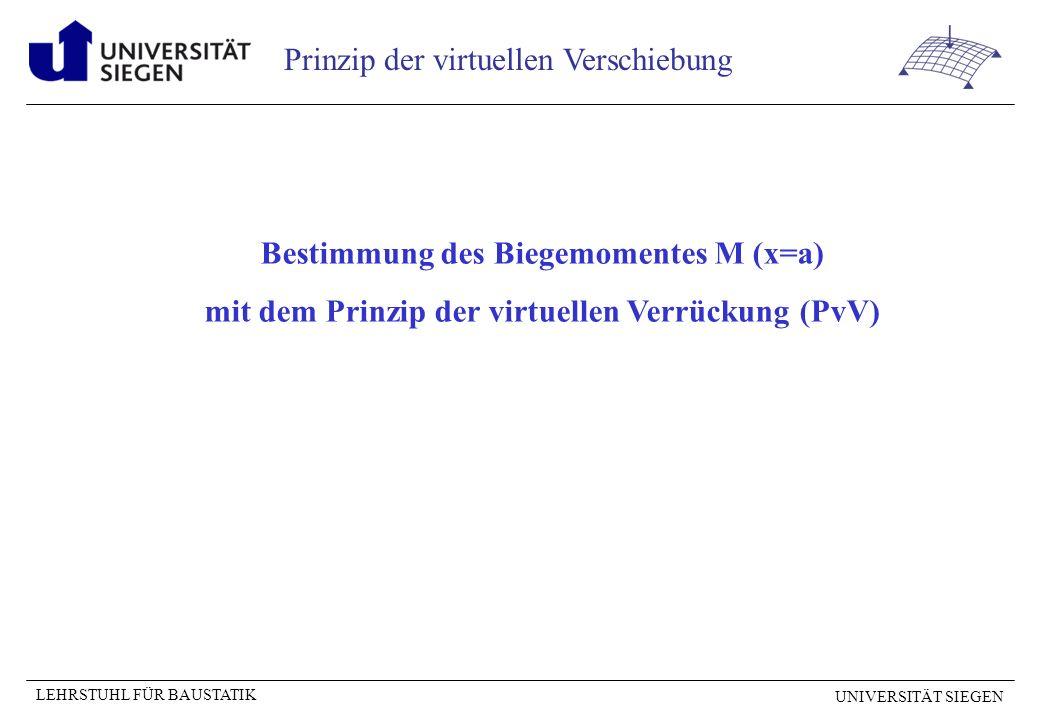 UNIVERSITÄT SIEGEN LEHRSTUHL FÜR BAUSTATIK Prinzip der virtuellen Verschiebung Bestimmung des Biegemomentes M (x=a) mit dem Prinzip der virtuellen Verrückung (PvV)