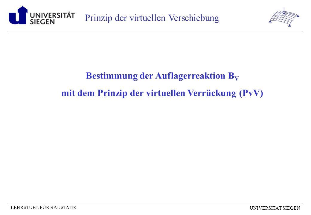 UNIVERSITÄT SIEGEN LEHRSTUHL FÜR BAUSTATIK Prinzip der virtuellen Verschiebung Auflagerreaktion B V Vorgehensweise wie bei Auflagerreaktion A V.