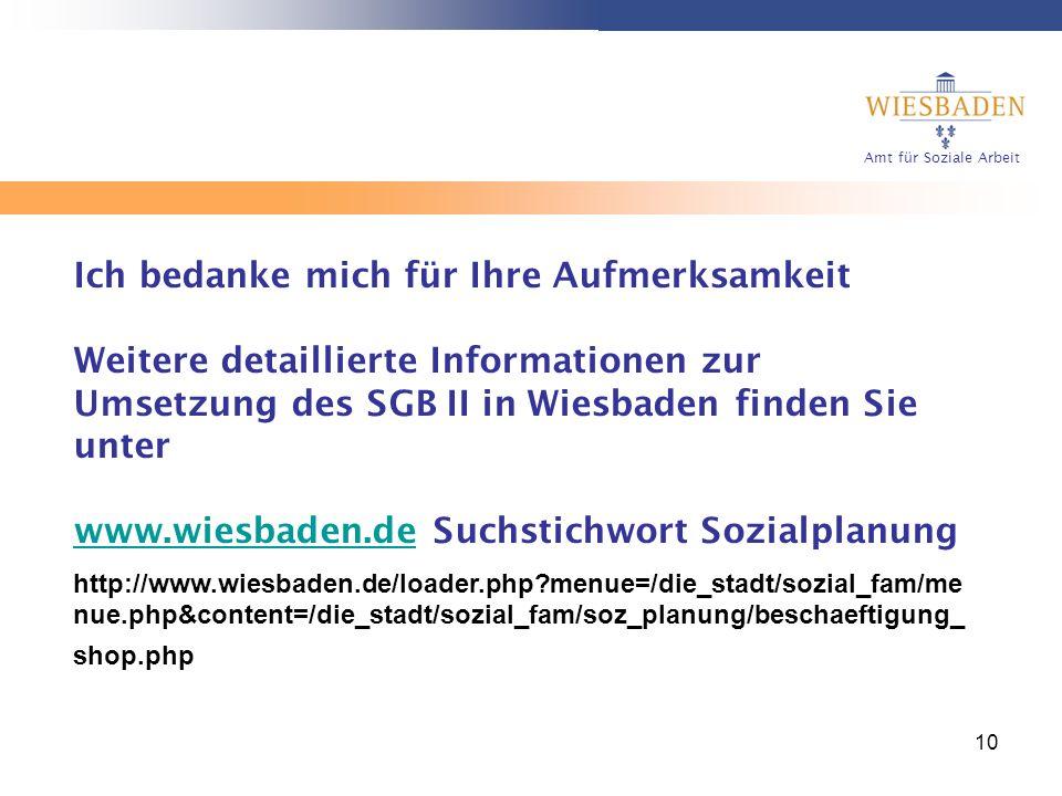 Amt für Soziale Arbeit 10 Ich bedanke mich für Ihre Aufmerksamkeit Weitere detaillierte Informationen zur Umsetzung des SGB II in Wiesbaden finden Sie