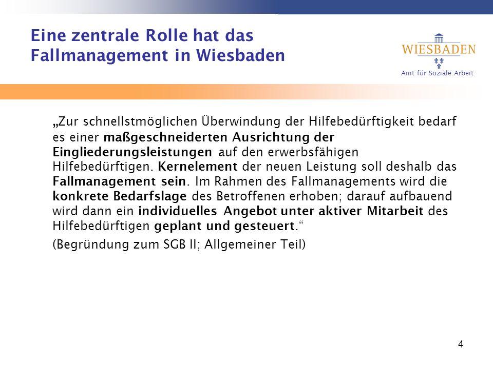 Amt für Soziale Arbeit 4 Eine zentrale Rolle hat das Fallmanagement in Wiesbaden Zur schnellstmöglichen Überwindung der Hilfebedürftigkeit bedarf es e