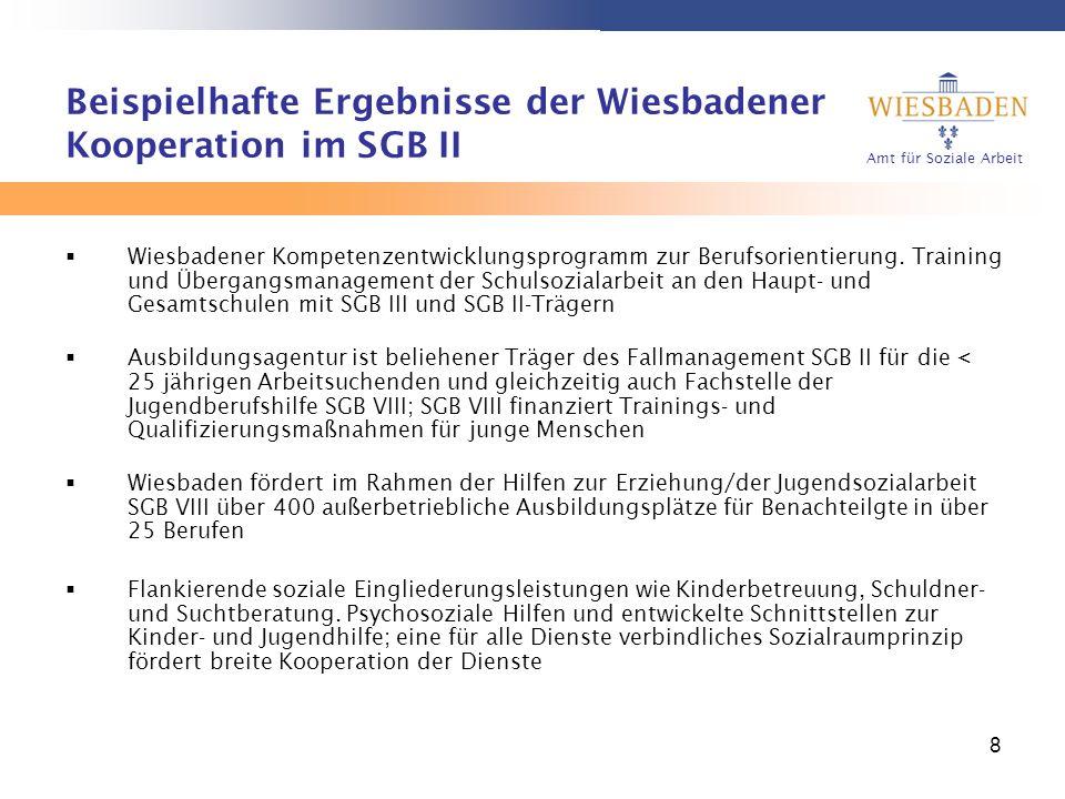 Amt für Soziale Arbeit 8 Beispielhafte Ergebnisse der Wiesbadener Kooperation im SGB II Wiesbadener Kompetenzentwicklungsprogramm zur Berufsorientieru