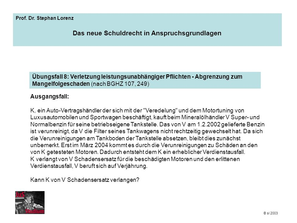 Prof. Dr. Stephan Lorenz Das neue Schuldrecht in Anspruchsgrundlagen Ausgangsfall: K, ein Auto-Vertragshändler der sich mit der