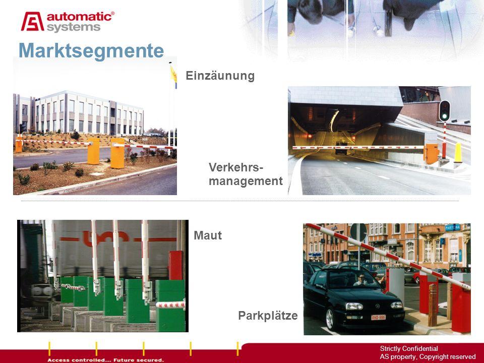 3 Strictly Confidential AS property, Copyright reserved Maut Parkplätze Marktsegmente Verkehrs- management Einzäunung