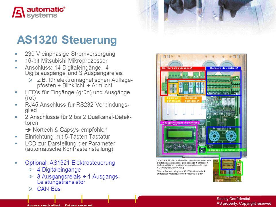 7 Strictly Confidential AS property, Copyright reserved 230 V einphasige Stromversorgung 16-bit Mitsubishi Mikroprozessor Anschluss: 14 Digitaleingäng