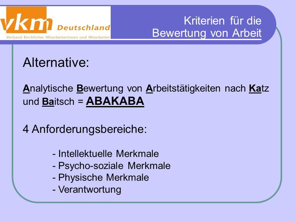 Kriterien für die Bewertung von Arbeit Alternative: Analytische Bewertung von Arbeitstätigkeiten nach Katz und Baitsch = ABAKABA 4 Anforderungsbereich
