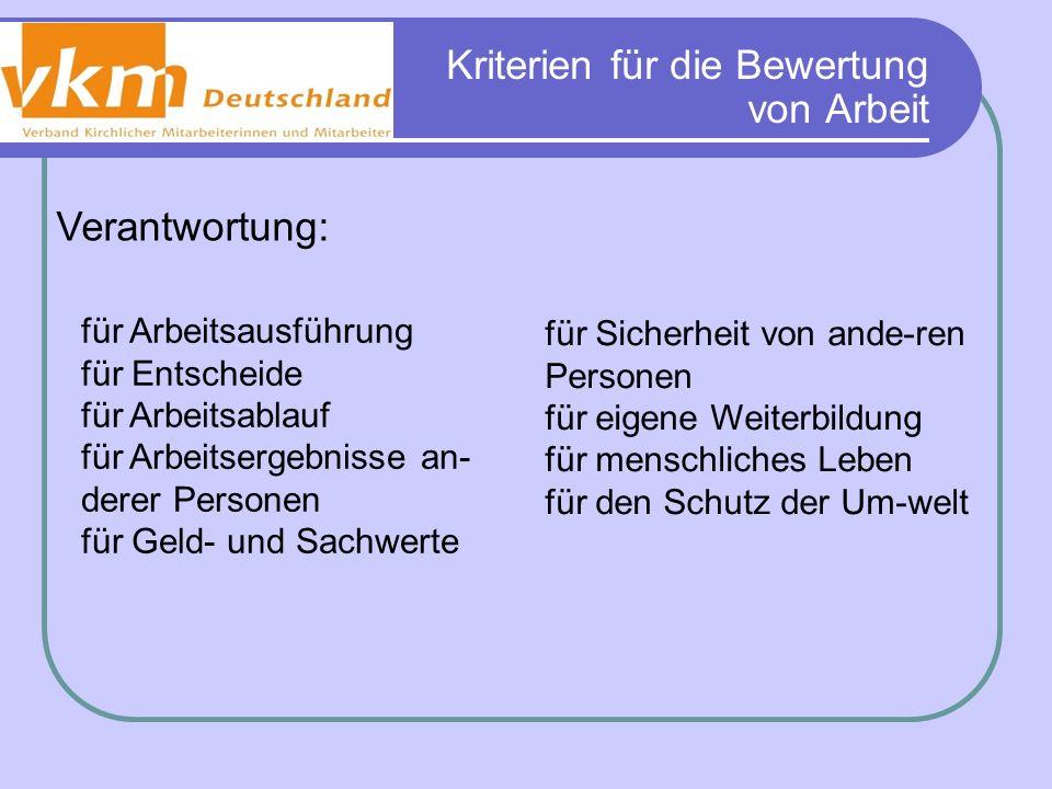 Kriterien für die Bewertung von Arbeit Verantwortung: für Arbeitsausführung für Entscheide für Arbeitsablauf für Arbeitsergebnisse an- derer Personen