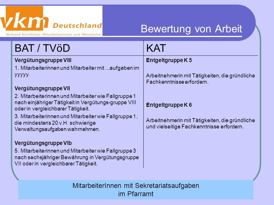Bewertung von Arbeit BAT / TVöDKAT Vergütungsgruppe VIII 1. Mitarbeiterinnen und Mitarbeiter mit...aufgaben im yyyyy. Vergütungsgruppe VII 2. Mitarbei