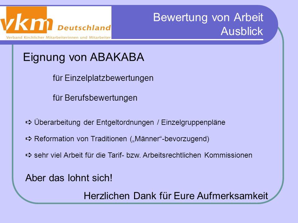 Bewertung von Arbeit Ausblick Eignung von ABAKABA für Einzelplatzbewertungen für Berufsbewertungen Überarbeitung der Entgeltordnungen / Einzelgruppenp