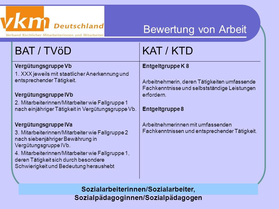 Bewertung von Arbeit BAT / TVöDKAT / KTD Vergütungsgruppe Vb 1. XXX jeweils mit staatlicher Anerkennung und entsprechender Tätigkeit. Vergütungsgruppe
