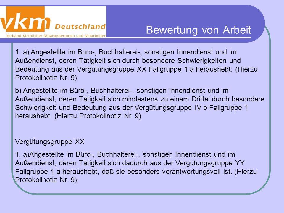 Bewertung von Arbeit BAT – Anlage 1a - Vergütungsgruppe IVa Vergütungsgruppe YY 1.