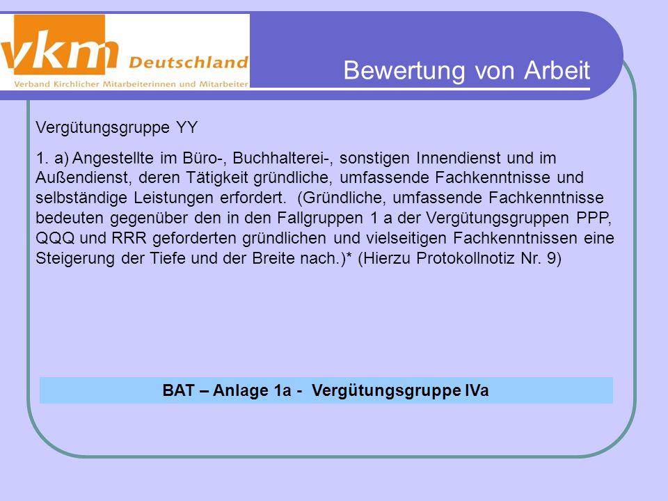 Bewertung von Arbeit BAT – Anlage 1a - Vergütungsgruppe IVa Vergütungsgruppe YY 1. a) Angestellte im Büro-, Buchhalterei-, sonstigen Innendienst und i