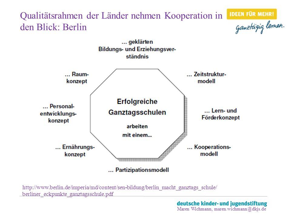 Qualitätsrahmen der Länder nehmen Kooperation in den Blick: Berlin http://www.berlin.de/imperia/md/content/sen-bildung/berlin_macht_ganztags_schule/ b