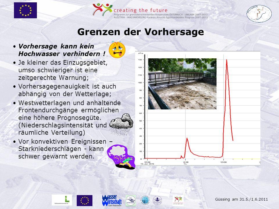 Güssing am 31.5./1.6.2011 Grenzen der Vorhersage Vorhersage kann kein Hochwasser verhindern ! Je kleiner das Einzugsgebiet, umso schwieriger ist eine