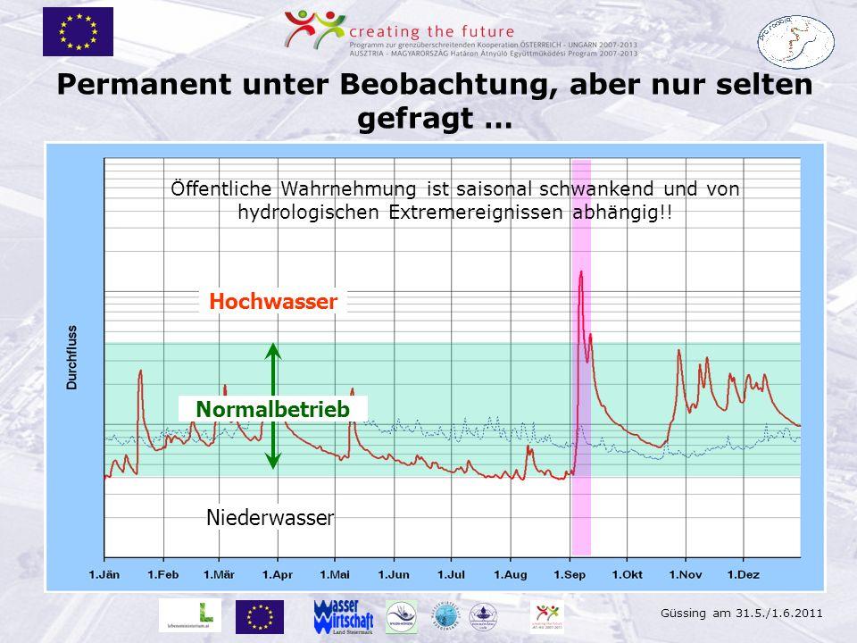 Güssing am 31.5./1.6.2011 Permanent unter Beobachtung, aber nur selten gefragt … Hochwasser Niederwasser Öffentliche Wahrnehmung ist saisonal schwanke