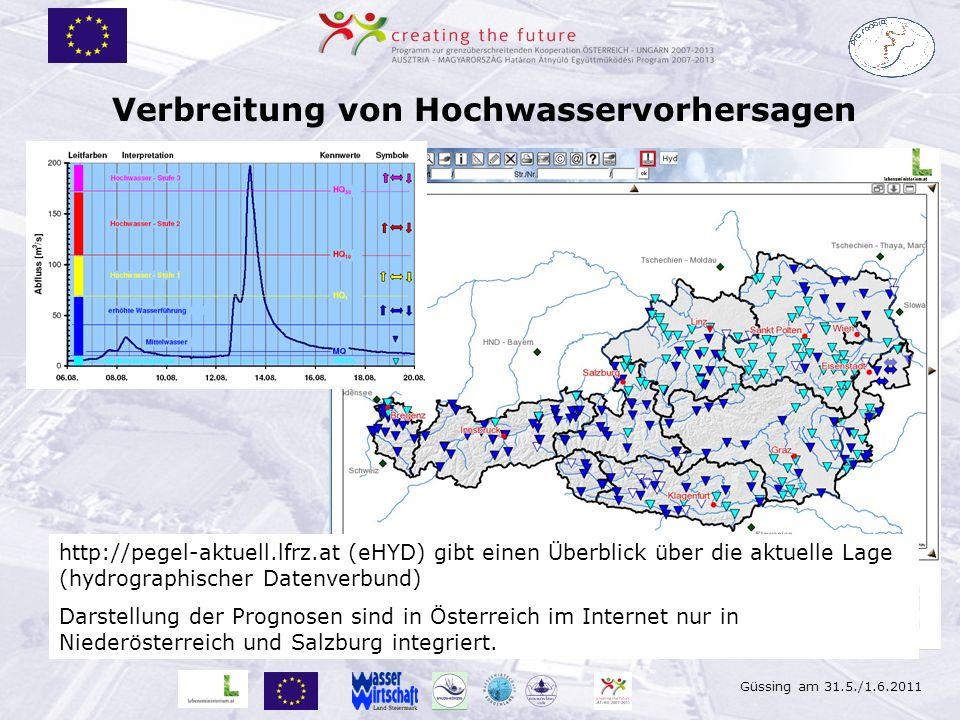 Güssing am 31.5./1.6.2011 Verbreitung von Hochwasservorhersagen http://pegel-aktuell.lfrz.at (eHYD) gibt einen Überblick über die aktuelle Lage (hydro