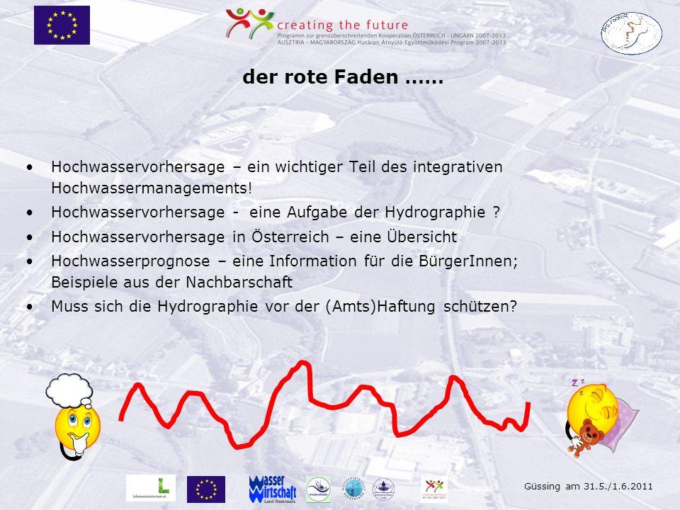 Güssing am 31.5./1.6.2011 Verbreitung von Hochwasservorhersagen http://pegel-aktuell.lfrz.at (eHYD) gibt einen Überblick über die aktuelle Lage (hydrographischer Datenverbund) Darstellung der Prognosen sind in Österreich im Internet nur in Niederösterreich und Salzburg integriert.
