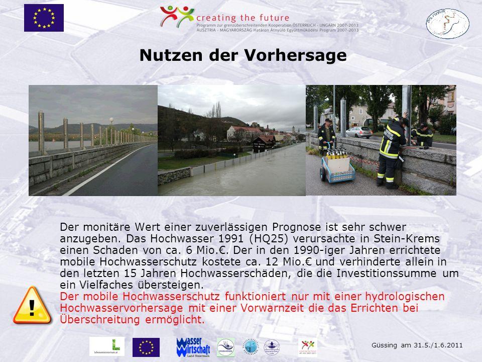 Güssing am 31.5./1.6.2011 Nutzen der Vorhersage Der monitäre Wert einer zuverlässigen Prognose ist sehr schwer anzugeben. Das Hochwasser 1991 (HQ25) v