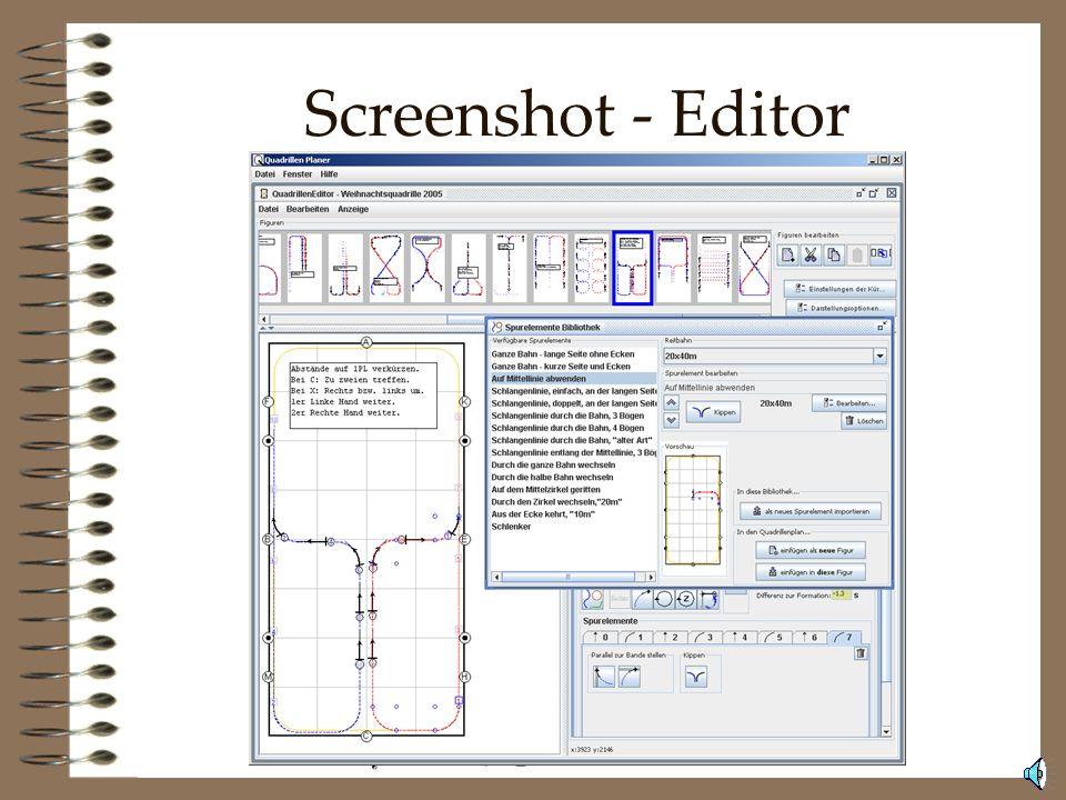 Software Der QuadrillenPlaner zum erstellen von Plänen für alle Küren. Der DressurkürPlaner zum erstellen von Plänen mit nur einem Pferd. Das Erweiter