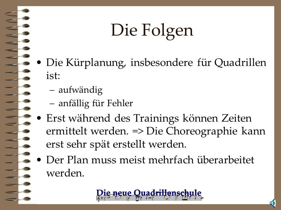 Die Folgen Die Kürplanung, insbesondere für Quadrillen ist: –aufwändig –anfällig für Fehler Erst während des Trainings können Zeiten ermittelt werden.