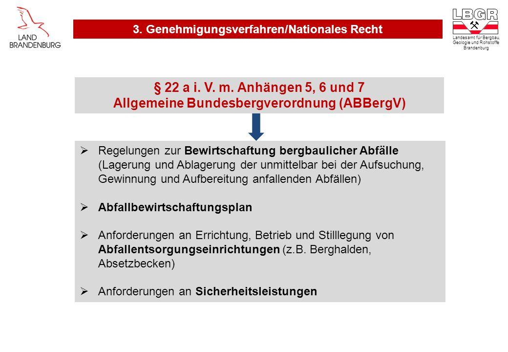 § 22 a i. V. m. Anhängen 5, 6 und 7 Allgemeine Bundesbergverordnung (ABBergV) Regelungen zur Bewirtschaftung bergbaulicher Abfälle (Lagerung und Ablag