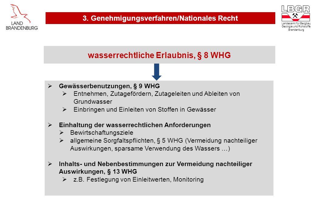 wasserrechtliche Erlaubnis, § 8 WHG Gewässerbenutzungen, § 9 WHG Entnehmen, Zutagefördern, Zutageleiten und Ableiten von Grundwasser Einbringen und Ei