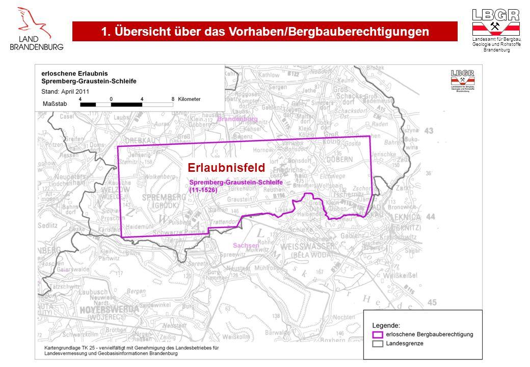 Landesamt für Bergbau, Geologie und Rohstoffe Brandenburg Erlaubnisfeld 1. Übersicht über das Vorhaben/Bergbauberechtigungen
