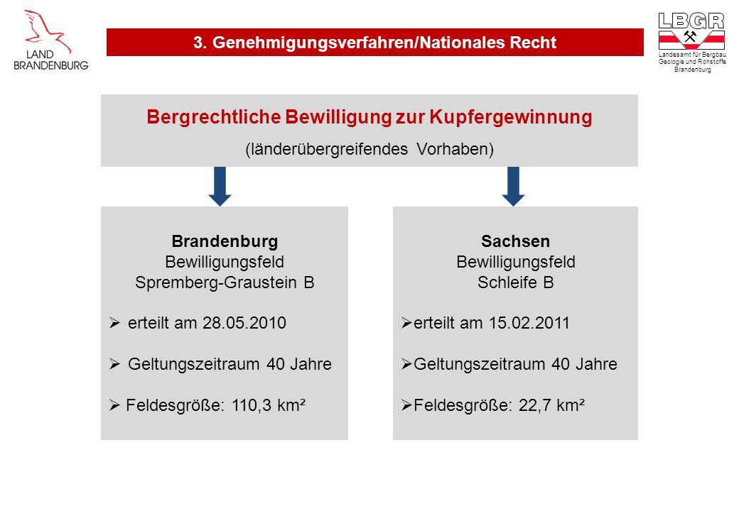 Bergrechtliche Bewilligung zur Kupfergewinnung (länderübergreifendes Vorhaben) Brandenburg Bewilligungsfeld Spremberg-Graustein B erteilt am 28.05.201
