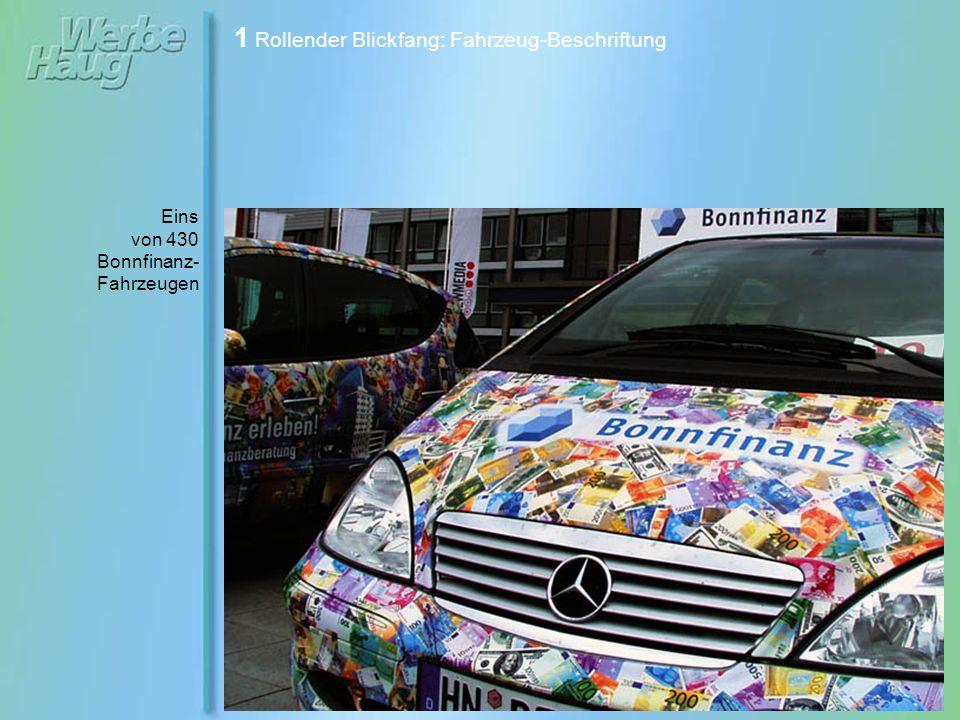 1 Rollender Blickfang: Fahrzeug-Beschriftung Smart- Beschriftung für die Kreissparkasse.