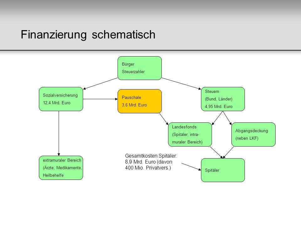 Finanzierung schematisch Bürger Steuerzahler Sozialversicherung 12,4 Mrd. Euro Steuern (Bund, Länder) 4,95 Mrd. Euro extramuraler Bereich (Ärzte, Medi